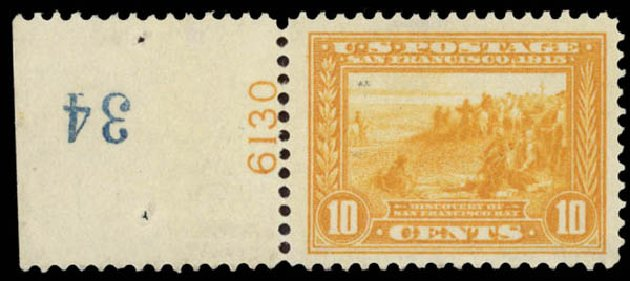Costs of US Stamps Scott Cat. 400 - 10c 1913 Panama-Pacific Exposition. Daniel Kelleher Auctions, May 2015, Sale 669, Lot 2973