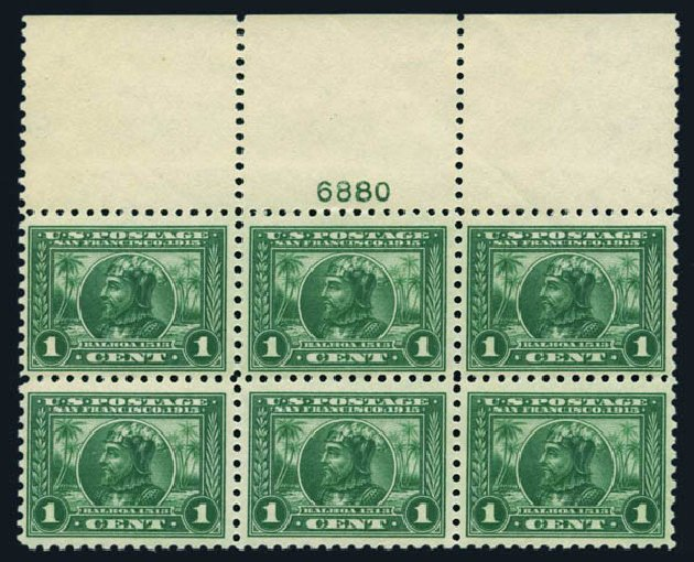 US Stamps Prices Scott Catalog # 401: 1915 1c Panama-Pacific Exposition. Harmer-Schau Auction Galleries, Aug 2014, Sale 102, Lot 2007