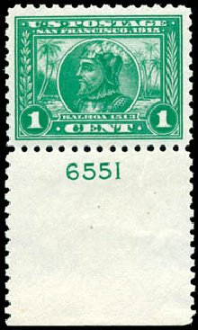 Values of US Stamp Scott Cat. # 401 - 1c 1915 Panama-Pacific Exposition. Schuyler J. Rumsey Philatelic Auctions, Apr 2015, Sale 60, Lot 2809