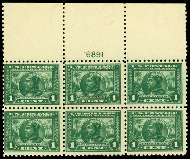 US Stamp Value Scott Catalog # 401: 1915 1c Panama-Pacific Exposition. Daniel Kelleher Auctions, Sep 2014, Sale 655, Lot 665