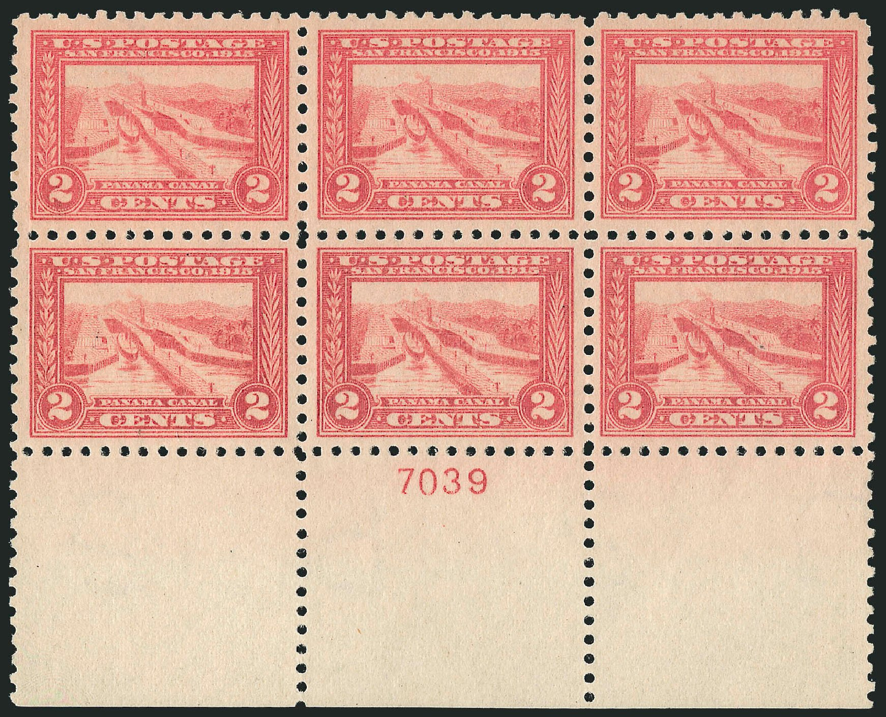 US Stamp Price Scott Cat. 402 - 2c 1915 Panama-Pacific Exposition. Robert Siegel Auction Galleries, Feb 2015, Sale 1093, Lot 245