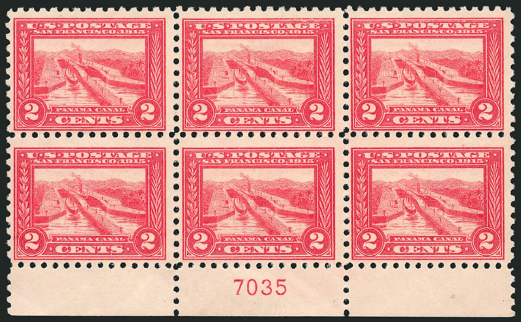 Values of US Stamp Scott Cat. 402 - 1915 2c Panama-Pacific Exposition. Robert Siegel Auction Galleries, Jul 2014, Sale 1077, Lot 252