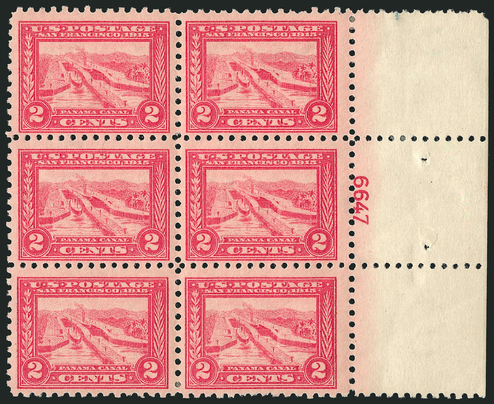 Cost of US Stamps Scott Cat. 402: 1915 2c Panama-Pacific Exposition. Robert Siegel Auction Galleries, Apr 2015, Sale 1096, Lot 653