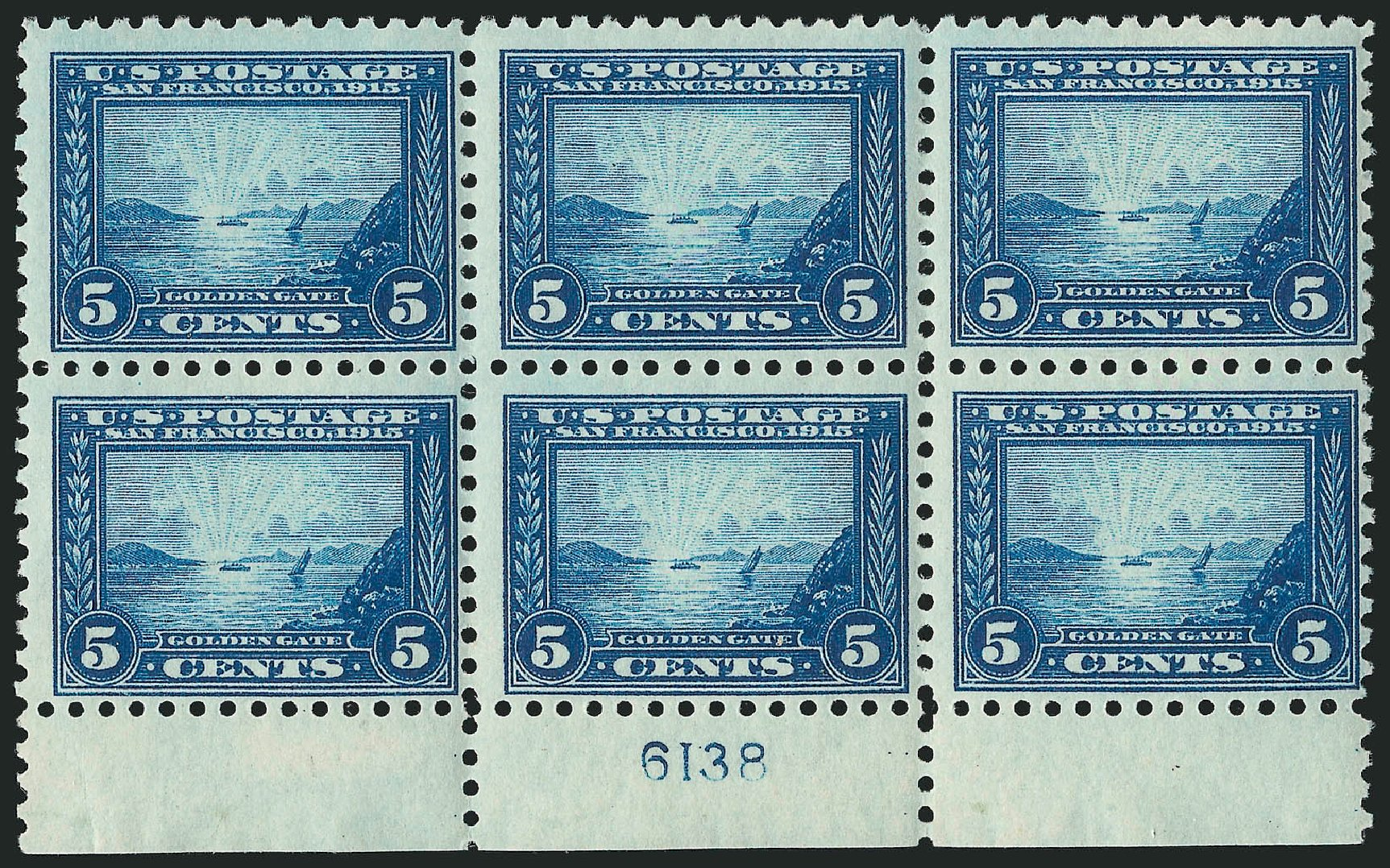 US Stamp Values Scott #403 - 1915 5c Panama-Pacific Exposition. Robert Siegel Auction Galleries, Apr 2015, Sale 1096, Lot 654