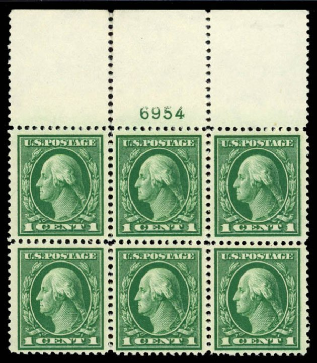 US Stamps Values Scott 405: 1c 1912 Washington Perf 12. Daniel Kelleher Auctions, Sep 2014, Sale 655, Lot 668