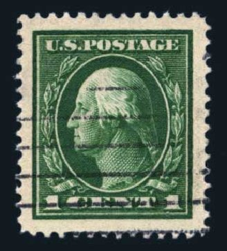 US Stamps Prices Scott 405: 1c 1912 Washington Perf 12. Harmer-Schau Auction Galleries, Aug 2014, Sale 102, Lot 2014