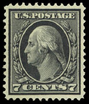 US Stamps Values Scott Catalogue 407 - 7c 1914 Washington Perf 12. Daniel Kelleher Auctions, Dec 2014, Sale 661, Lot 338