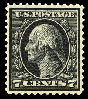 US Stamps Price Scott Catalogue 407 - 7c 1914 Washington Perf 12. Daniel Kelleher Auctions, Dec 2012, Sale 633, Lot 711