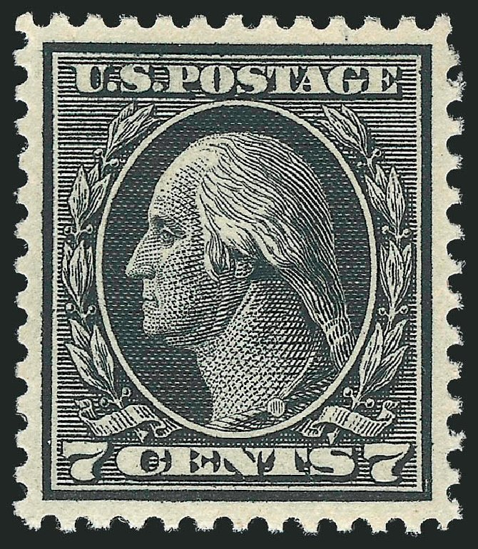US Stamps Prices Scott Catalog # 407 - 1914 7c Washington Perf 12. Robert Siegel Auction Galleries, Feb 2015, Sale 1092, Lot 1304