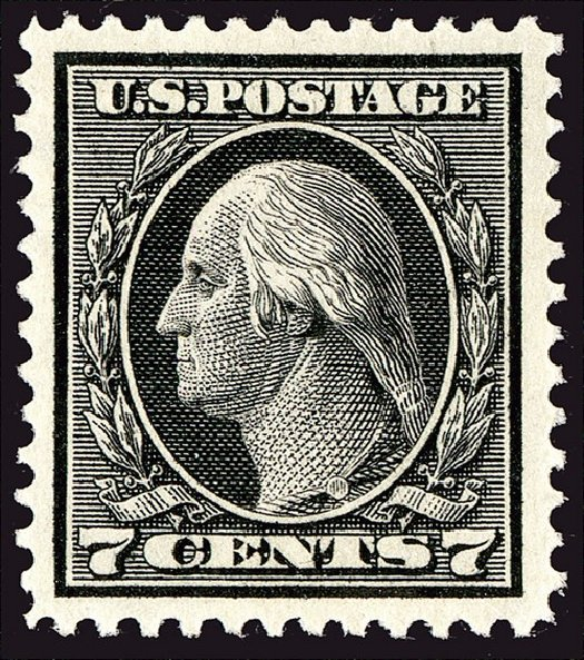 US Stamps Value Scott Catalogue 407 - 1914 7c Washington Perf 12. Spink Shreves Galleries, Jan 2014, Sale 146, Lot 404