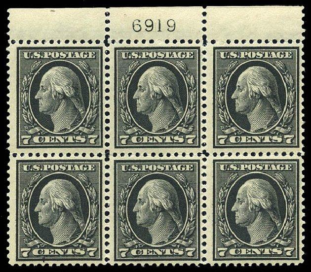 Value of US Stamp Scott Cat. #407: 7c 1914 Washington Perf 12. Matthew Bennett International, May 2014, Sale 350, Lot 565