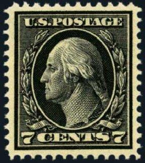 Values of US Stamps Scott 407 - 7c 1914 Washington Perf 12. Harmer-Schau Auction Galleries, Jan 2013, Sale 96, Lot 565