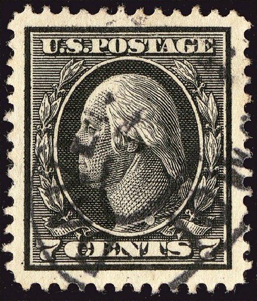 US Stamp Values Scott Cat. # 407: 1914 7c Washington Perf 12. Spink Shreves Galleries, Jan 2014, Sale 146, Lot 405