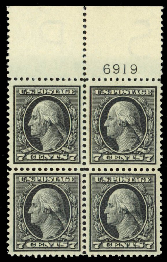 Values of US Stamps Scott Catalogue #407 - 7c 1914 Washington Perf 12. Daniel Kelleher Auctions, Jan 2015, Sale 663, Lot 1763