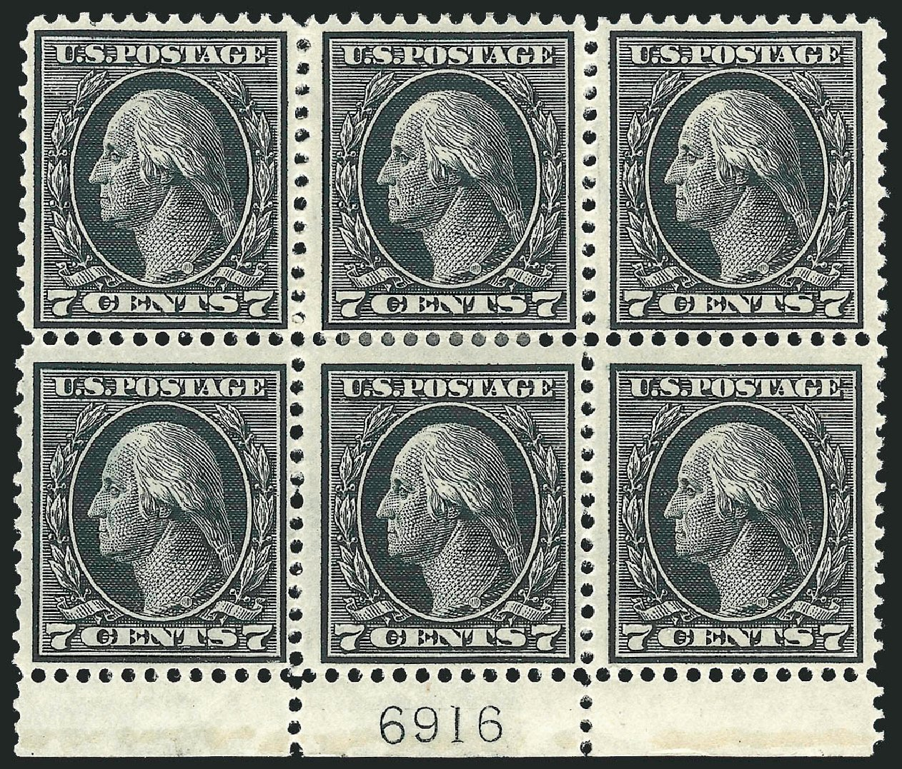US Stamps Values Scott Catalogue 407: 1914 7c Washington Perf 12. Robert Siegel Auction Galleries, Jul 2014, Sale 1077, Lot 253