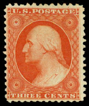 US Stamp Prices Scott # 41: 3c 1875 Washington Reprint. Daniel Kelleher Auctions, May 2015, Sale 669, Lot 2479
