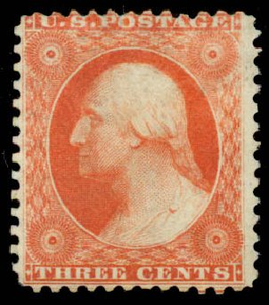 Costs of US Stamps Scott Cat. 41 - 1875 3c Washington Reprint. Daniel Kelleher Auctions, May 2015, Sale 669, Lot 2480