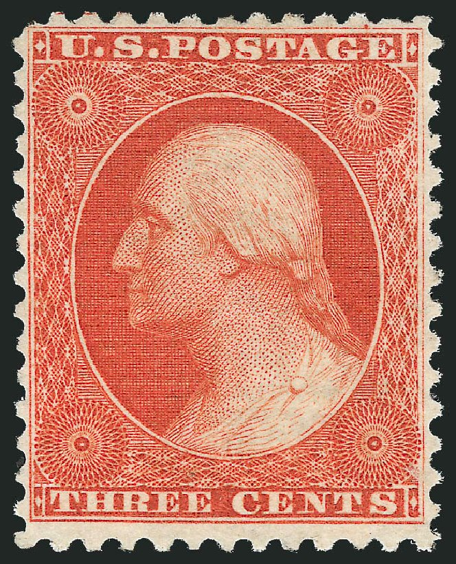 US Stamps Values Scott Catalogue # 41: 1875 3c Washington Reprint. Robert Siegel Auction Galleries, Dec 2014, Sale 1090, Lot 1181