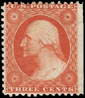 US Stamp Values Scott #41: 1875 3c Washington Reprint. Regency-Superior, Aug 2015, Sale 112, Lot 142