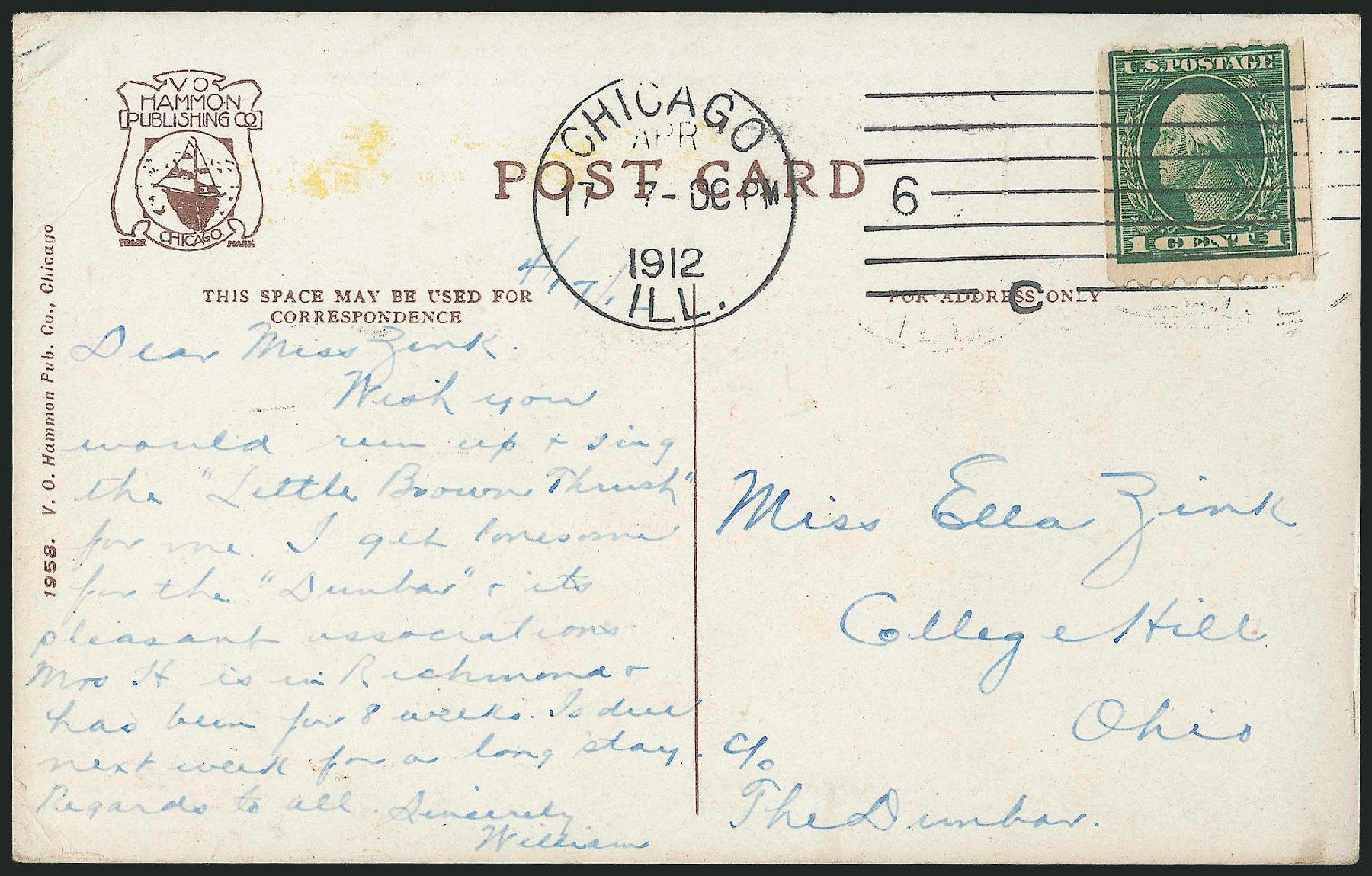 US Stamp Values Scott Catalogue # 410 - 1c 1912 Washington Coil. Robert Siegel Auction Galleries, Feb 2015, Sale 1093, Lot 259