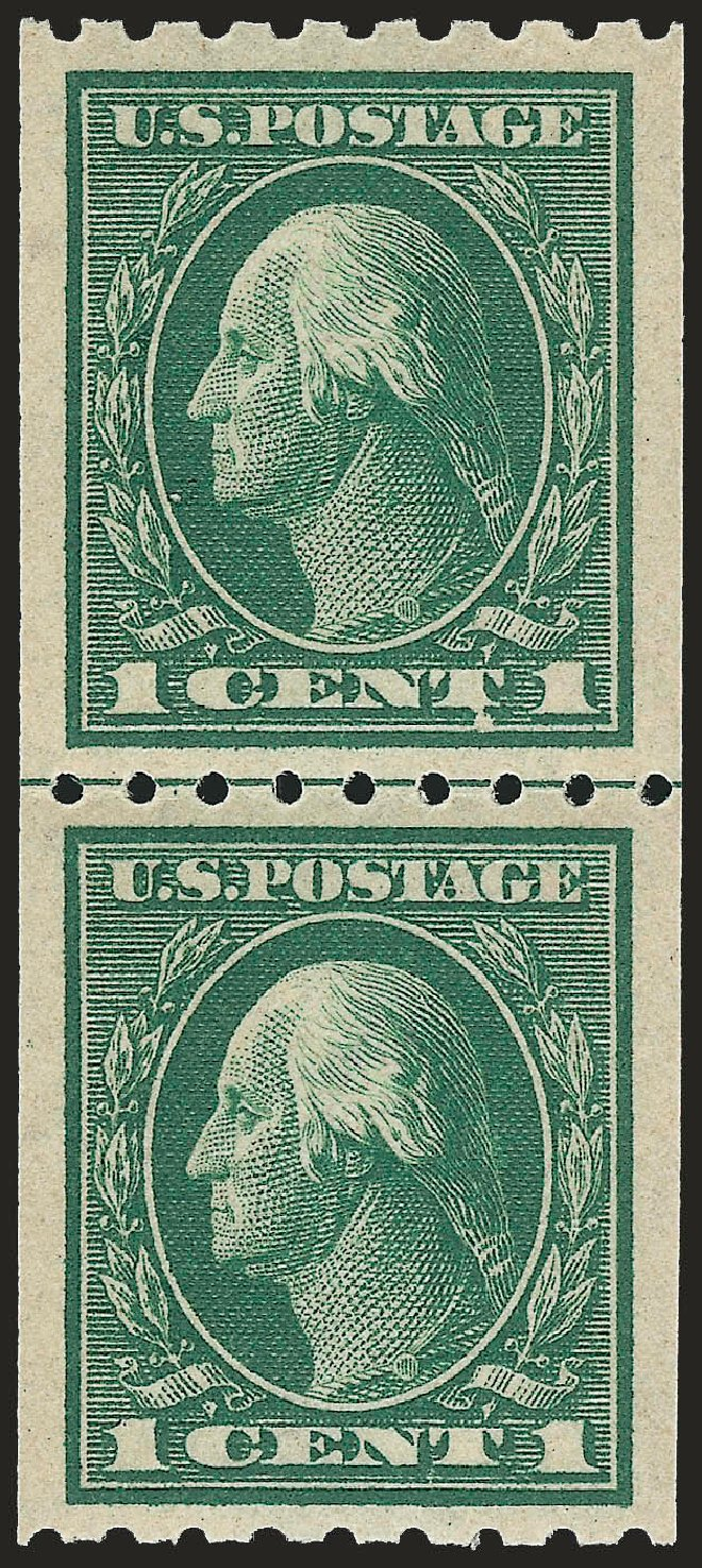 Values of US Stamps Scott Catalogue # 410: 1c 1912 Washington Coil. Robert Siegel Auction Galleries, Jun 2009, Sale 975, Lot 1825
