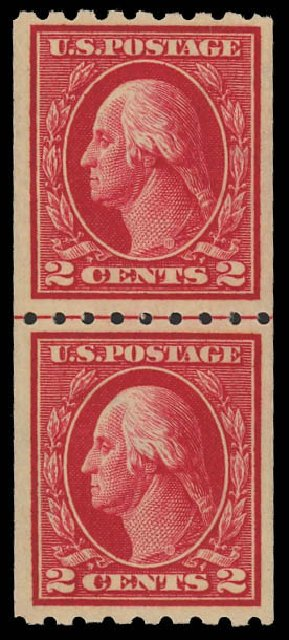 US Stamp Values Scott Cat. # 411 - 1912 2c Washington Coil. Daniel Kelleher Auctions, Oct 2012, Sale 632, Lot 1331