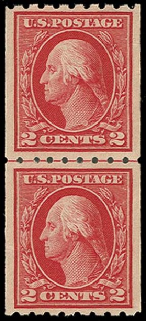 Values of US Stamps Scott Cat. 411 - 1912 2c Washington Coil. H.R. Harmer, Oct 2014, Sale 3006, Lot 1354