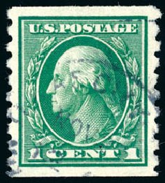 Cost of US Stamps Scott 412 - 1c 1912 Washington Coil. Schuyler J. Rumsey Philatelic Auctions, Apr 2015, Sale 60, Lot 2377