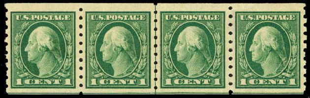 Cost of US Stamps Scott Cat. #412 - 1c 1912 Washington Coil. Daniel Kelleher Auctions, Sep 2014, Sale 655, Lot 480
