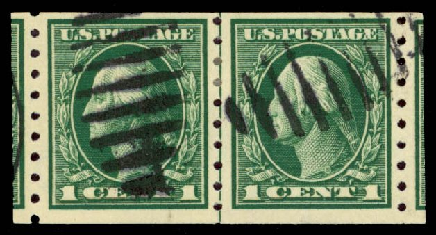 Values of US Stamp Scott Catalogue # 412 - 1912 1c Washington Coil. Daniel Kelleher Auctions, May 2015, Sale 669, Lot 2990