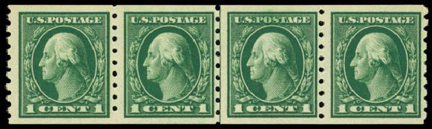 US Stamp Values Scott Cat. # 412 - 1912 1c Washington Coil. Daniel Kelleher Auctions, Oct 2014, Sale 660, Lot 2364