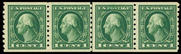 US Stamp Values Scott Cat. # 412 - 1912 1c Washington Coil. Daniel Kelleher Auctions, Oct 2014, Sale 660, Lot 2364