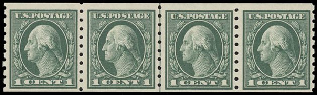 Values of US Stamp Scott Catalogue #412 - 1c 1912 Washington Coil. Daniel Kelleher Auctions, Aug 2015, Sale 672, Lot 2714