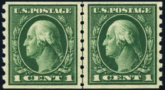 US Stamps Values Scott Catalogue 412 - 1c 1912 Washington Coil. Harmer-Schau Auction Galleries, Nov 2014, Sale 103, Lot 133