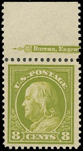 US Stamp Prices Scott Catalog # 414 - 1912 8c Franklin Perf 12. H.R. Harmer, Oct 2014, Sale 3006, Lot 1355
