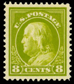 Value of US Stamps Scott Cat. 414: 1912 8c Franklin Perf 12. Daniel Kelleher Auctions, Oct 2014, Sale 660, Lot 2365