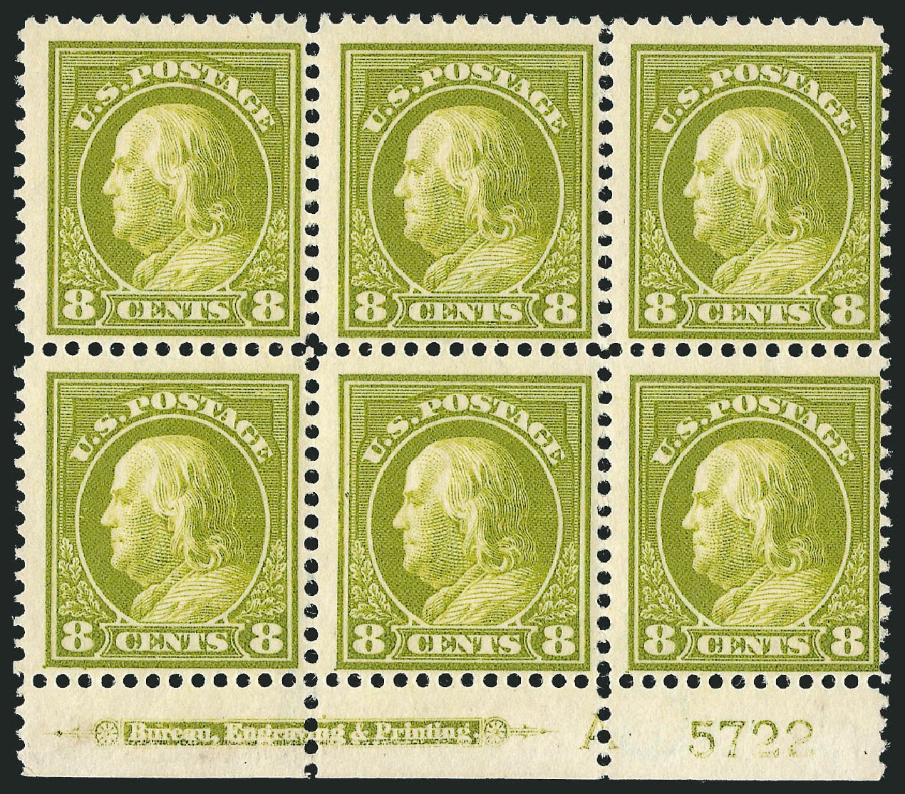 US Stamps Values Scott # 414: 1912 8c Franklin Perf 12. Robert Siegel Auction Galleries, Jul 2014, Sale 1077, Lot 255