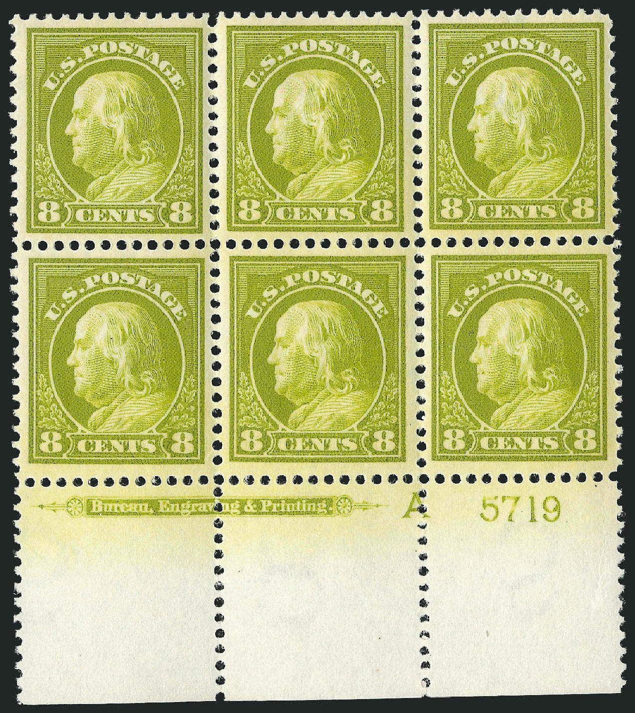Cost of US Stamp Scott Cat. 414: 1912 8c Franklin Perf 12. Robert Siegel Auction Galleries, Feb 2015, Sale 1093, Lot 265