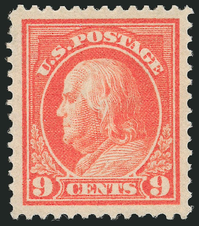 US Stamp Values Scott Catalog # 415 - 1914 9c Franklin Perf 12. Robert Siegel Auction Galleries, Nov 2012, Sale 1034, Lot 388