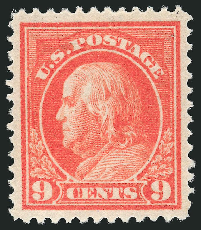 US Stamps Value Scott Catalog 415: 1914 9c Franklin Perf 12. Robert Siegel Auction Galleries, May 2013, Sale 1044, Lot 268
