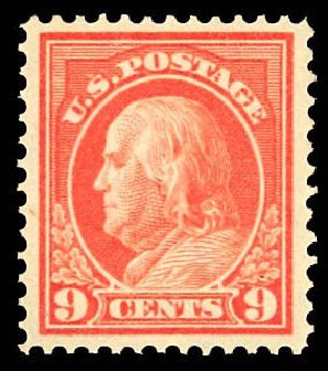 Prices of US Stamps Scott Catalog #415: 9c 1914 Franklin Perf 12. Daniel Kelleher Auctions, Dec 2012, Sale 633, Lot 724