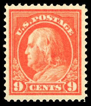 Costs of US Stamps Scott Catalogue #415 - 9c 1914 Franklin Perf 12. Daniel Kelleher Auctions, Dec 2012, Sale 633, Lot 722