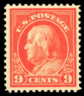 US Stamps Values Scott Catalogue #415 - 1914 9c Franklin Perf 12. Daniel Kelleher Auctions, Dec 2012, Sale 633, Lot 723