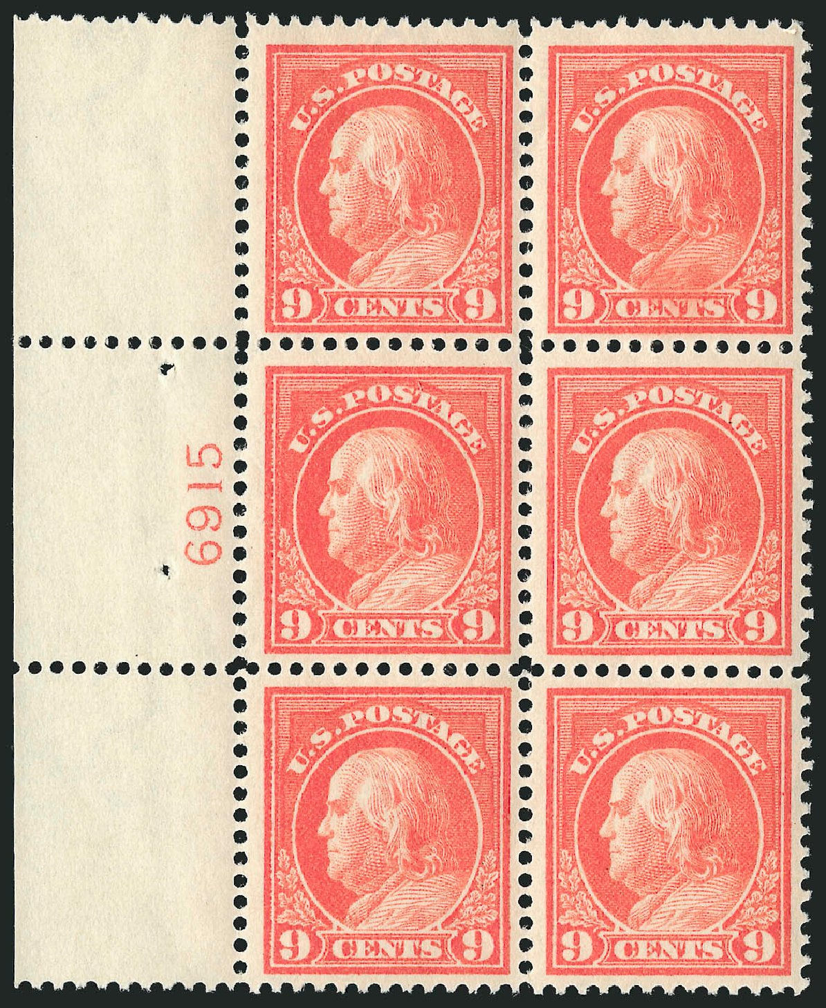Price of US Stamp Scott Catalogue #415: 1914 9c Franklin Perf 12. Robert Siegel Auction Galleries, Apr 2015, Sale 1096, Lot 663