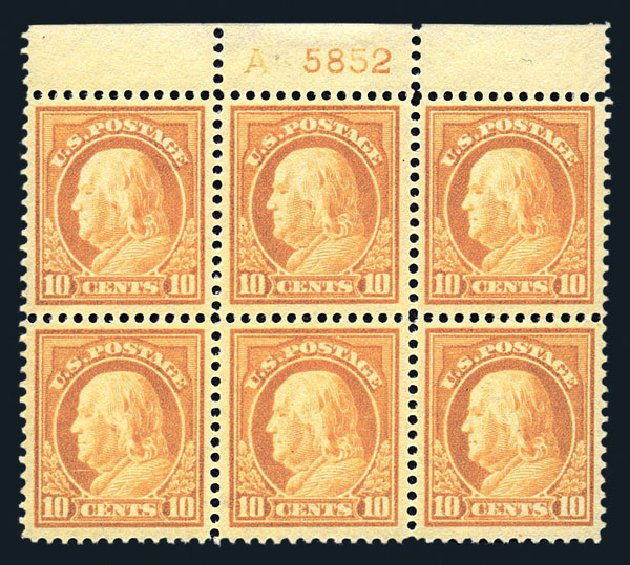 Value of US Stamps Scott Catalogue 416 - 1912 10c Franklin Perf 12. Harmer-Schau Auction Galleries, Aug 2015, Sale 106, Lot 1807