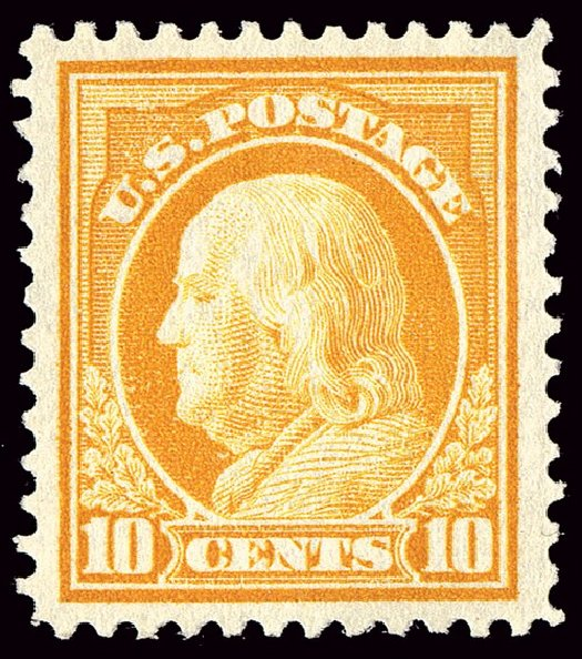 Value of US Stamp Scott Catalog 416: 10c 1912 Franklin Perf 12. Spink Shreves Galleries, Jan 2014, Sale 146, Lot 407