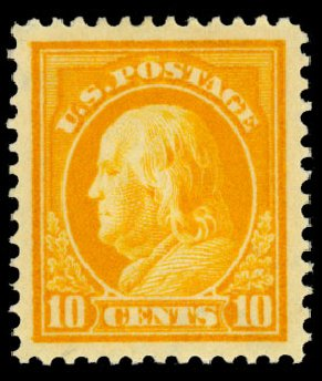 US Stamps Values Scott Catalog #416: 10c 1912 Franklin Perf 12. Daniel Kelleher Auctions, Dec 2013, Sale 640, Lot 369