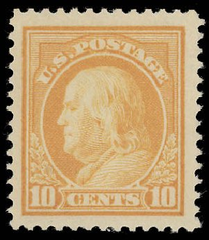 Cost of US Stamp Scott Catalog #416 - 1912 10c Franklin Perf 12. Daniel Kelleher Auctions, Aug 2015, Sale 672, Lot 2716