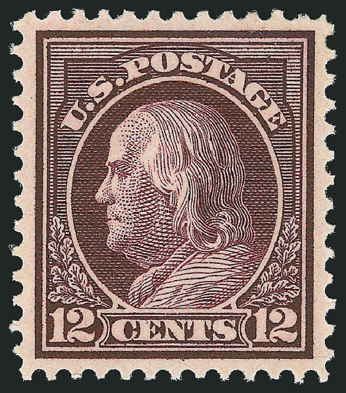 US Stamps Prices Scott Catalogue 417: 1914 12c Franklin Perf 12. Robert Siegel Auction Galleries, Dec 2014, Sale 1090, Lot 1499