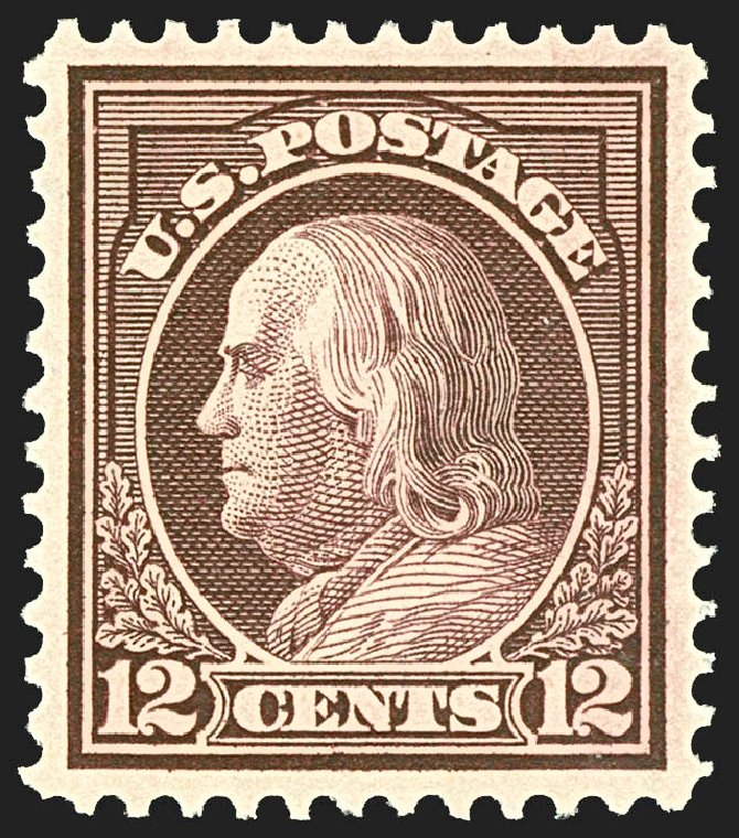 Cost of US Stamp Scott Catalogue #417: 1914 12c Franklin Perf 12. Robert Siegel Auction Galleries, Jul 2015, Sale 1107, Lot 459